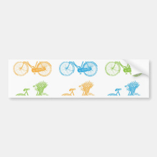 Vintage bikes with basket of flowers colorful wall bumper sticker