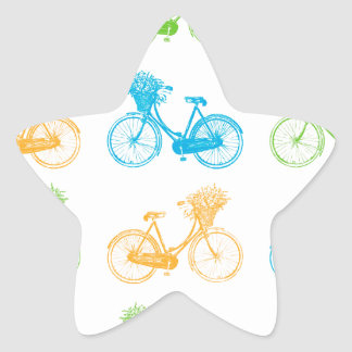 Vintage bikes with basket of flowers colorful wall star sticker