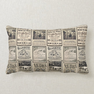 Vintage Biking Advertisement Collage Lumbar Pillow