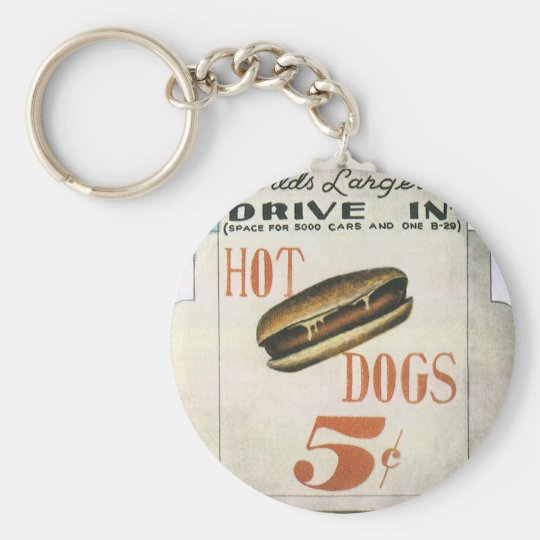 Vintage Billboard, Worlds Largest Drive In Hotdogs Keychain