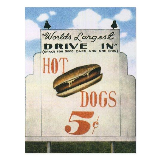 Vintage Billboard, Worlds Largest Drive In Hotdogs Postcard