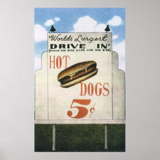 Vintage Billboard, Worlds Largest Drive In Hotdogs Poster
