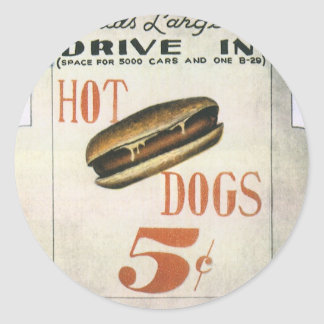 Vintage Billboard, Worlds Largest Drive In Hotdogs Round Stickers