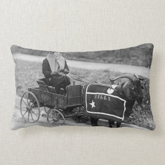 Vintage Billy Goat Pulling a Little Girl in Wagon Pillow