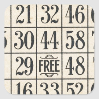 Vintage Bingo Card Square Sticker