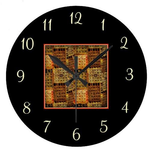 Vintage Bingo Cards Collage - Wall Clock | Zazzle