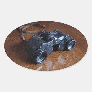 Vintage Binoculars Oval Sticker