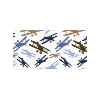 Vintage Biplane Airplane Pattern Blue Brown Address Label