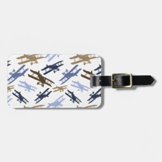 Vintage Biplane Airplane Pattern Blue Brown Bag Tag