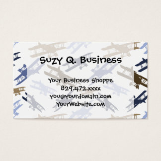 Vintage Biplane Airplane Pattern Blue Brown Business Card
