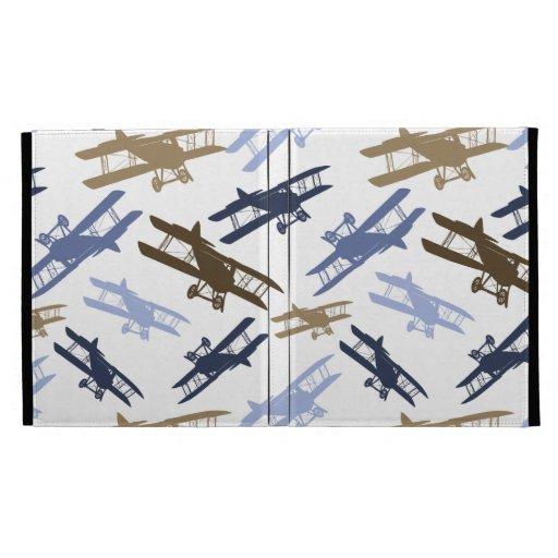 Vintage Biplane Airplane Pattern Blue Brown iPad Folio Cover
