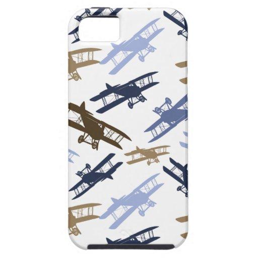 Vintage Biplane Airplane Pattern Blue Brown iPhone 5 Cover