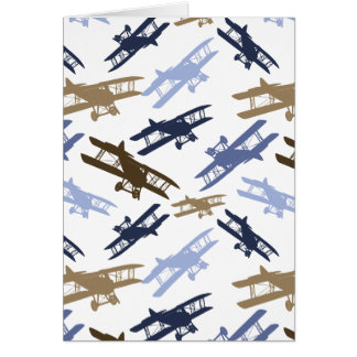 Vintage Biplane Airplane Pattern Blue Brown Greeting Card