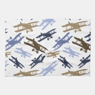 Vintage Biplane Airplane Pattern Blue Brown Hand Towel