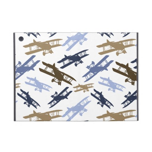 Vintage Biplane Airplane Pattern Blue Brown Case For iPad Mini