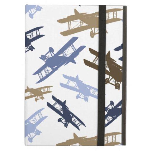 Vintage Biplane Airplane Pattern Blue Brown iPad Cover
