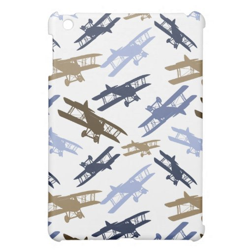 Vintage Biplane Airplane Pattern Blue Brown Case For The iPad Mini