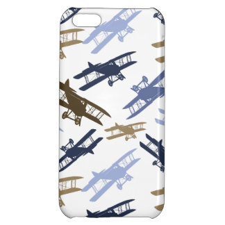 Vintage Biplane Airplane Pattern Blue Brown iPhone 5C Cover