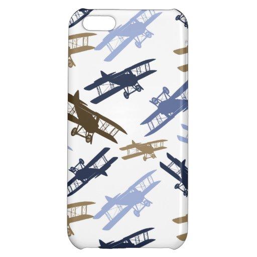 Vintage Biplane Airplane Pattern Blue Brown iPhone 5C Cover