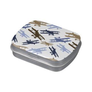Vintage Biplane Airplane Pattern Blue Brown Jelly Belly Tins