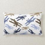 Vintage Biplane Airplane Pattern Blue Brown Pillow
