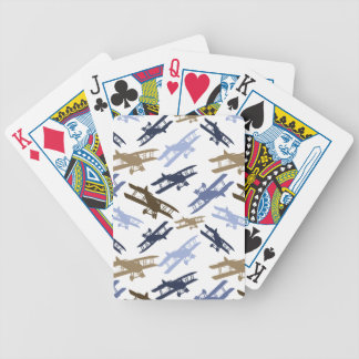 Vintage Biplane Airplane Pattern Blue Brown Playing Cards
