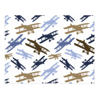 Vintage Biplane Airplane Pattern Blue Brown Postcard