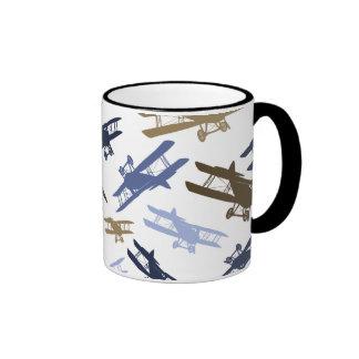 Vintage Biplane Airplane Pattern Blue Brown Ringer Coffee Mug