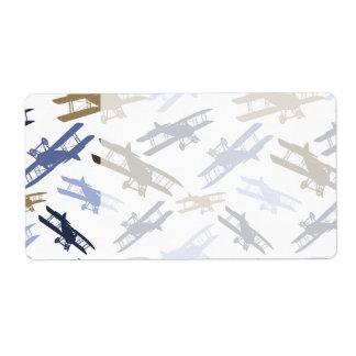 Vintage Biplane Airplane Pattern Blue Brown Shipping Label