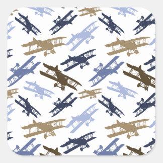 Vintage Biplane Airplane Pattern Blue Brown Square Sticker