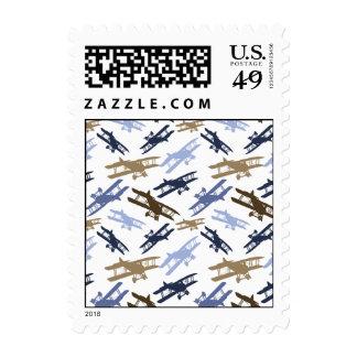 Vintage Biplane Airplane Pattern Blue Brown Stamps