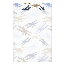 Vintage Biplane Airplane Pattern Blue Brown Stationery