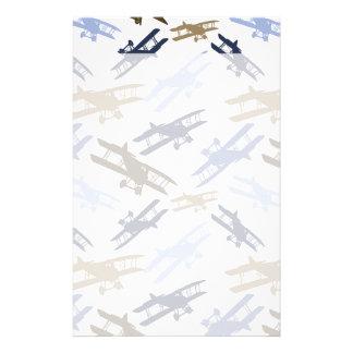 Vintage Biplane Airplane Pattern Blue Brown Stationery