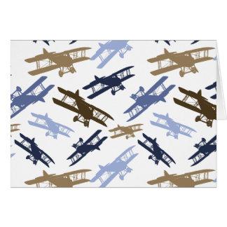 Vintage Biplane Airplane Pattern Blue Brown Stationery Note Card