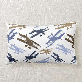 Vintage Biplane Airplane Pattern Blue Brown Throw Pillow