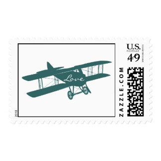 Vintage Biplane Aviation Love Wedding Postage