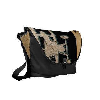Vintage biplane aviator bag messenger bag