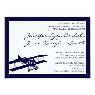 Vintage Biplane Aviator Blue Wedding Invitations