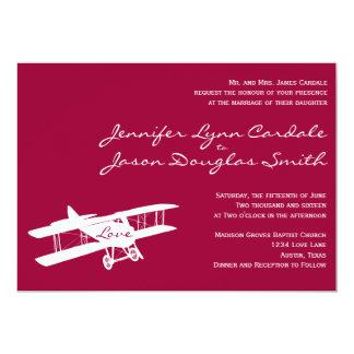 Vintage Biplane Aviator Magenta Wedding Invitation