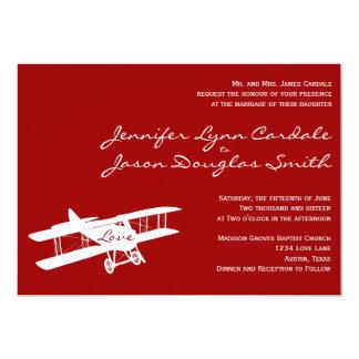 Vintage Biplane Aviator Red Wedding Invitations