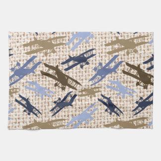 Vintage Biplane Burlap Print Airplane Pattern Kitchen Towel