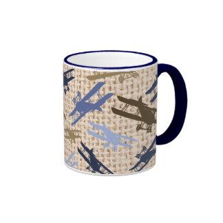 Vintage Biplane Burlap Print Airplane Pattern Coffee Mug