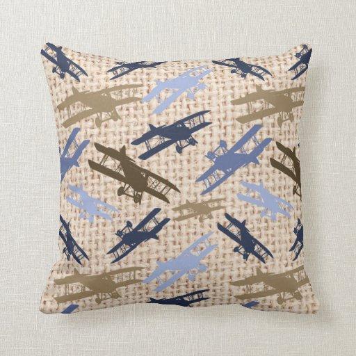Vintage Biplane Burlap Print Airplane Pattern Throw Pillows Zazzle