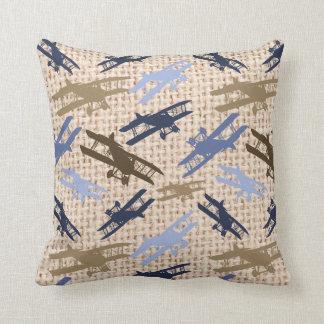 Vintage Biplane Burlap Print Airplane Pattern Throw Pillow