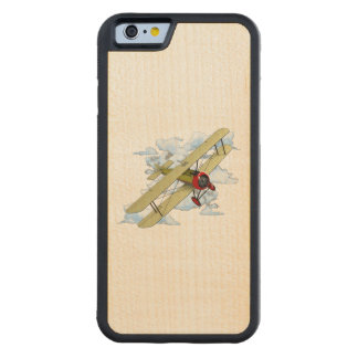 Vintage Biplane Flying Carved Maple iPhone 6 Bumper Case