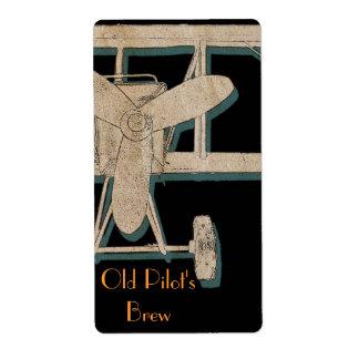 Vintage biplane - old pilot's brew label