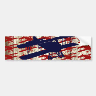 Vintage Biplane on Barn Wood Aviation Gifts Bumper Stickers