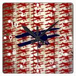 Vintage Biplane on Barn Wood Aviation Gifts Wallclock