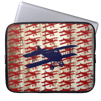 Vintage Biplane on Barn Wood Aviation Gifts Computer Sleeve