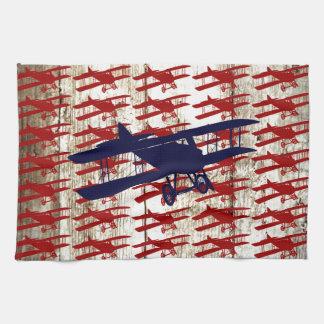 Vintage Biplane on Barn Wood Aviation Gifts Hand Towel